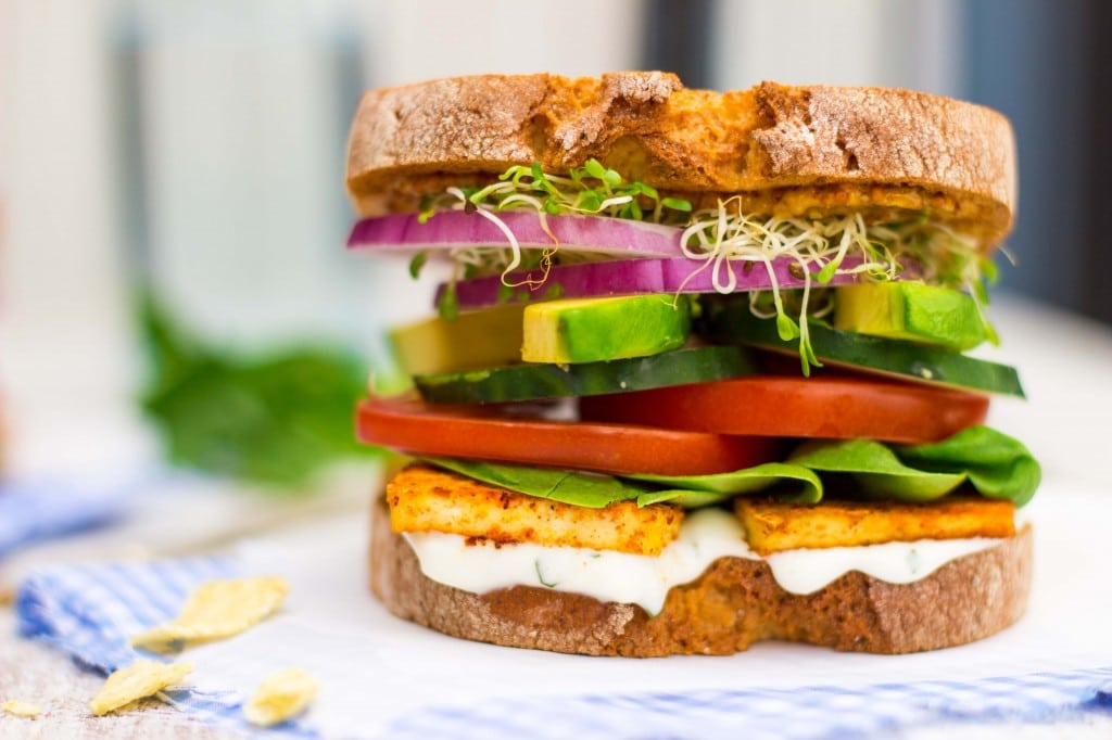 Ultimate Veggie Sandwich with Smokey Tofu & Lemon Basil Mayo - She ...