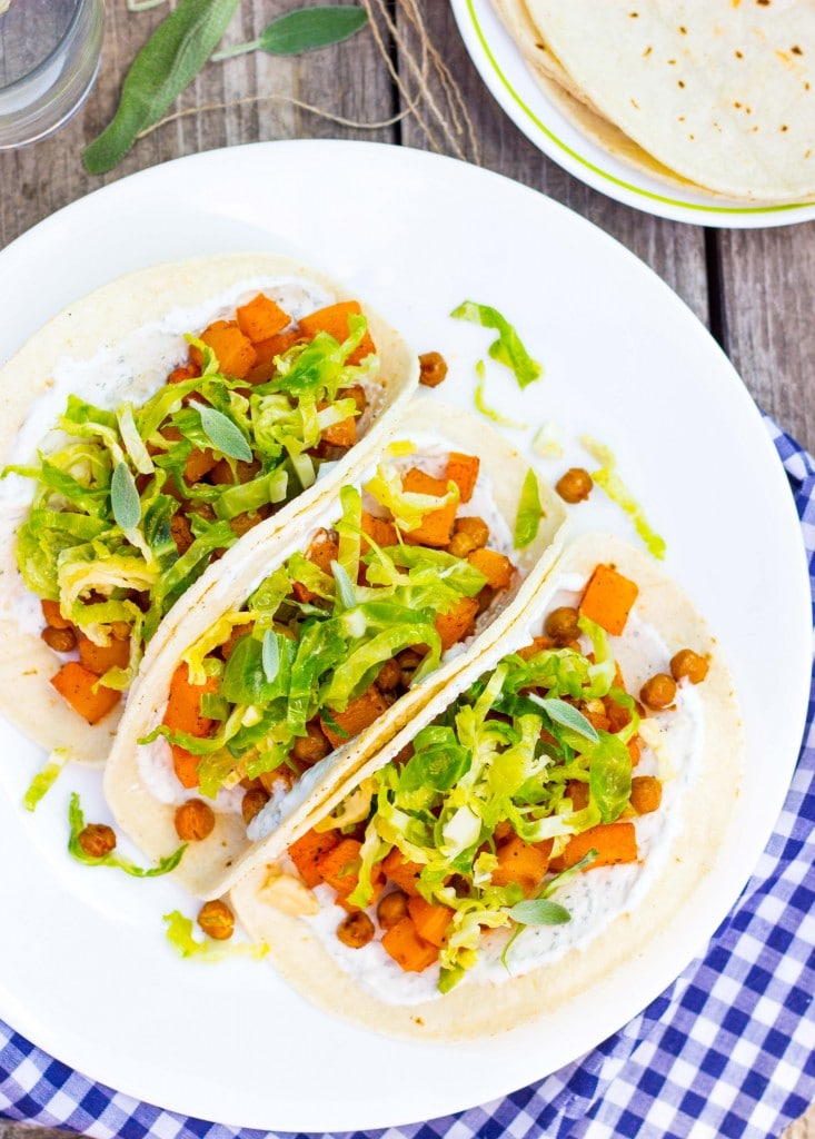 Roasted Butternut Squash Tacos with Maple Brussels Sprout Slaw & Sage Crema-4939