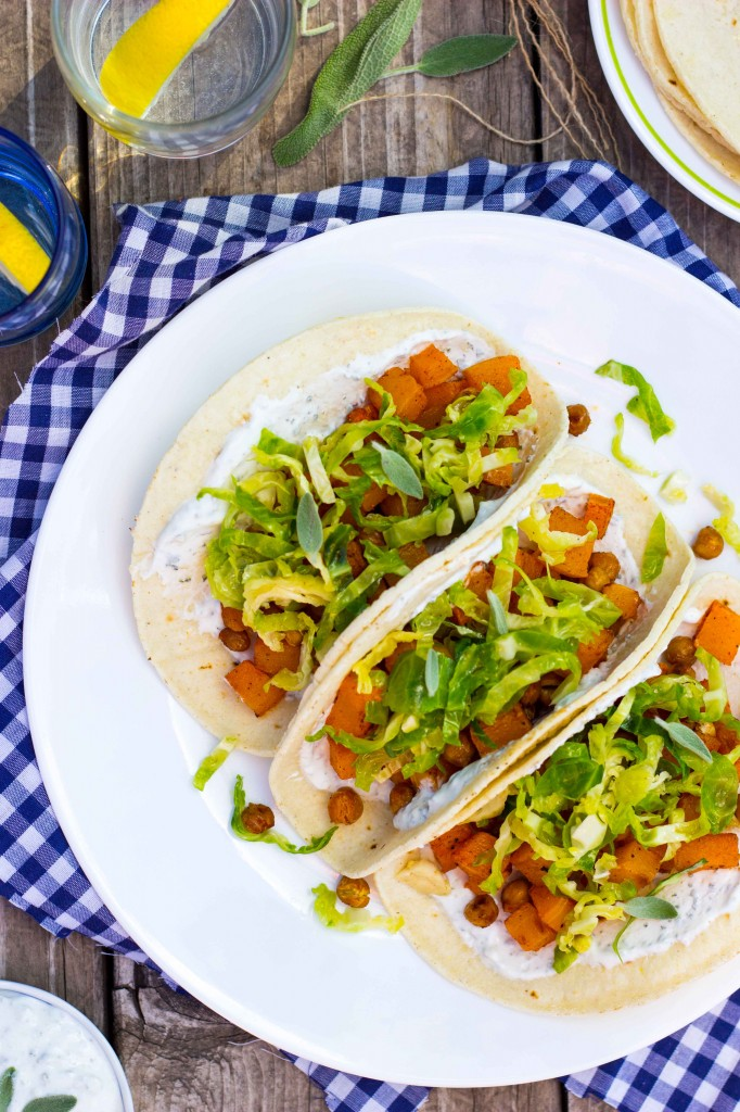 Roasted Butternut Squash Tacos with Maple Brussels Sprout Slaw & Sage Crema-4946