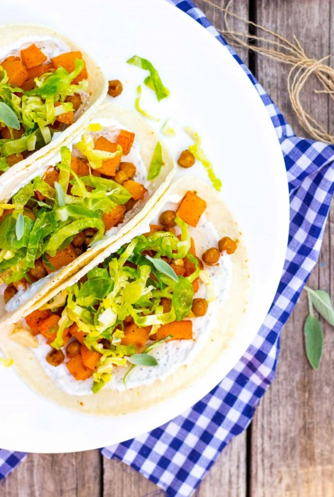 Roasted Butternut Squash Tacos with Maple Brussels Sprout Slaw & Sage Crema-4953