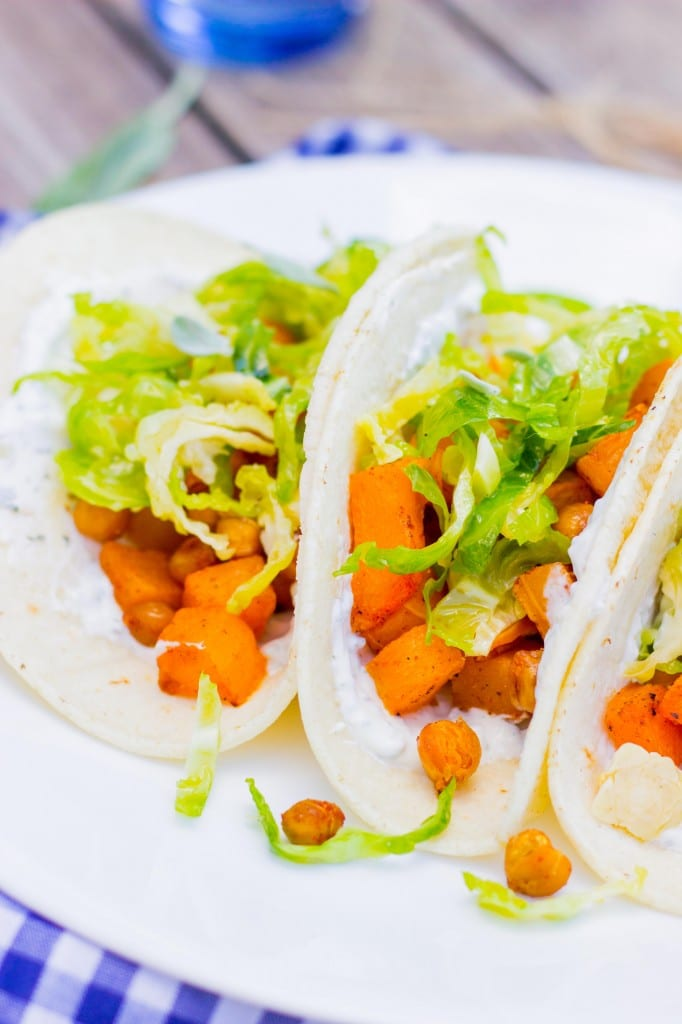 Roasted Butternut Squash Tacos with Maple Brussels Sprout Slaw & Sage Crema-4969