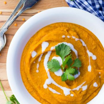 Curried Sweet Potato, Carrot & Red Lentil Soup