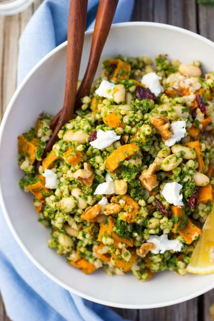 Sorghum, Sweet Potato & White Bean Salad with Kale Pesto-5974