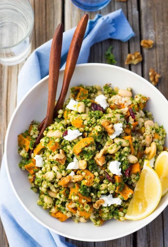 Sorghum, Sweet Potato & White Bean Salad with Kale Pesto-5990