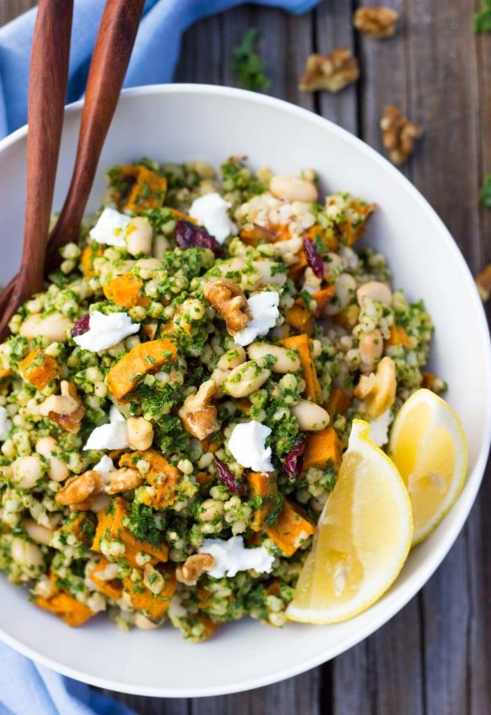 Sorghum, Sweet Potato & White Bean Salad with Kale Pesto-5992