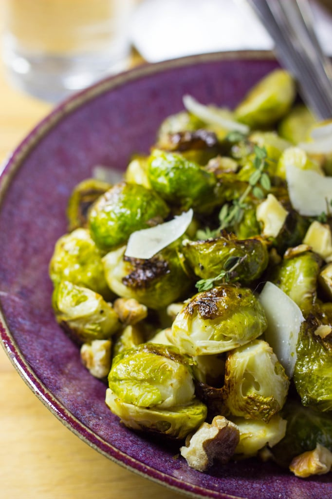 Maple & Dijon Roasted Brussels Sprouts with Toasted Walnuts & Parmesa...