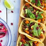 Black Eyed Pea & Sweet Potato Tacos with Pomegranate Seeds