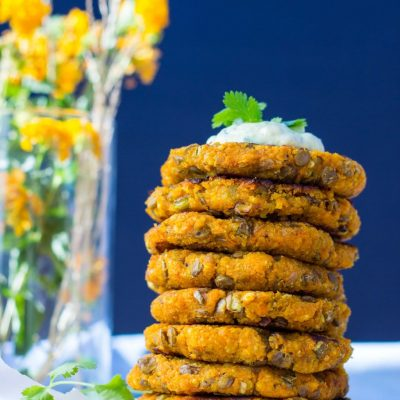 Sweet Potato, Millet & Lentil Cakes with Curry Cilantro Mayo {gf+v}