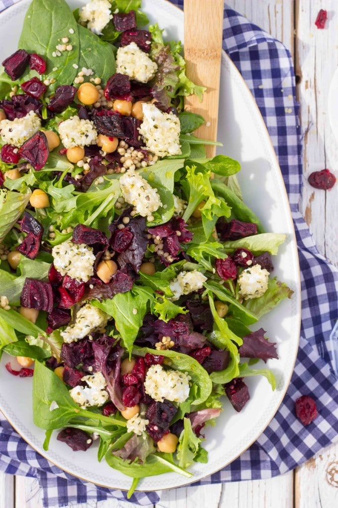 Roasted Beet Salad with Hemp Heart Crusted Goat Cheese-9136