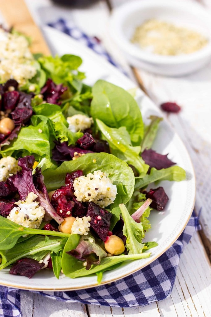 Roasted Beet Salad with Hemp Heart Crusted Goat Cheese-9165
