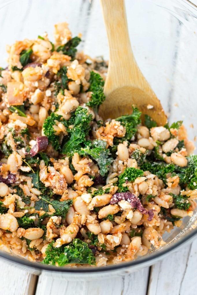 Vegetarian Mealball Sliders with Kale, White Beans & Feta-8786