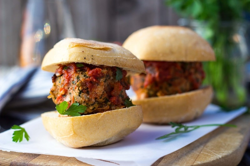 Vegetarian Mealball Sliders with Kale, White Beans & Feta-9086