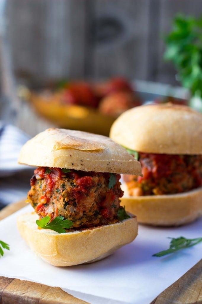 Vegetarian Mealball Sliders with Kale, White Beans & Feta-9117