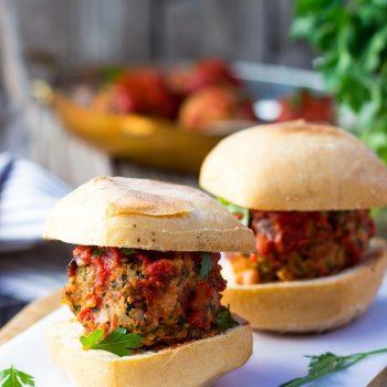 Vegetarian Meatball Sliders with White Beans, Kale & Feta