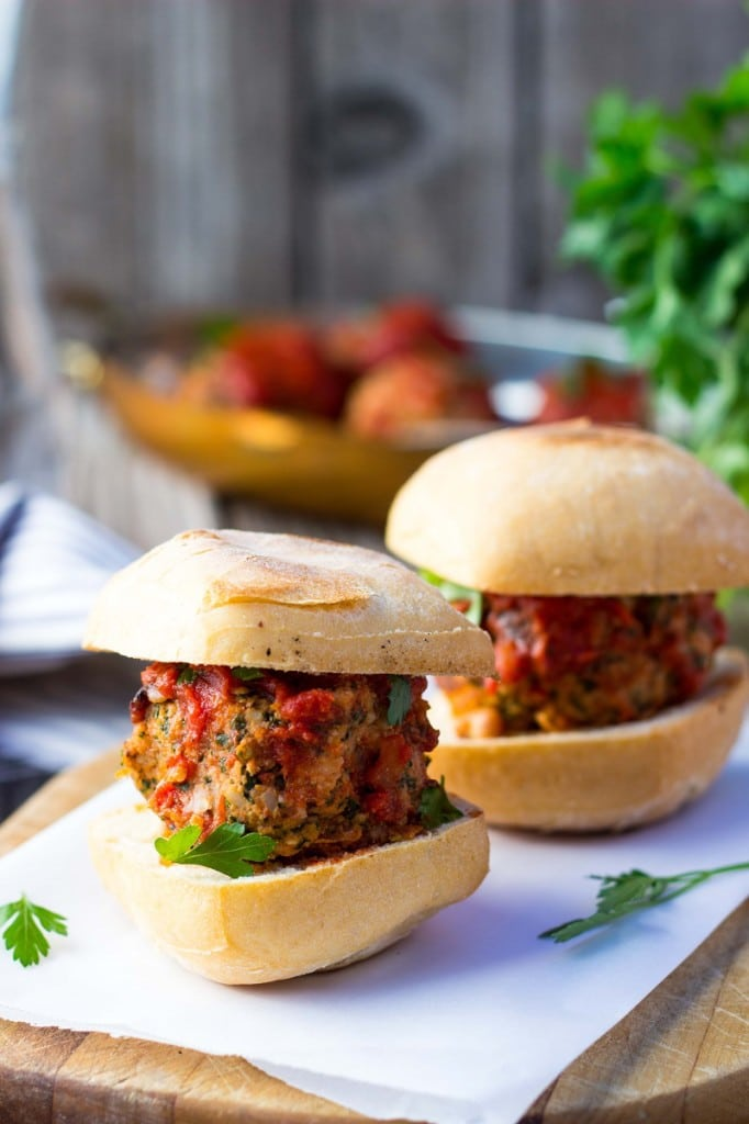 Vegetarian Mealball Sliders with Kale, White Beans & Feta-9127