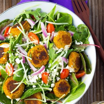 Roasted Carrot Falafel Salad with Citrus Tahini Dressing