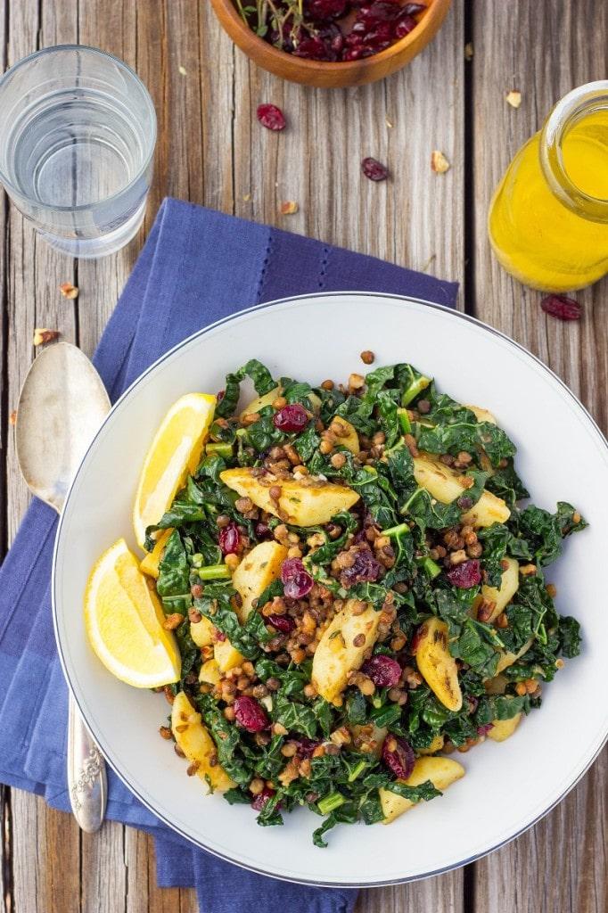 Warm Lentil, Kale & Potato Salad with Lemon Dijon Dressing-0704