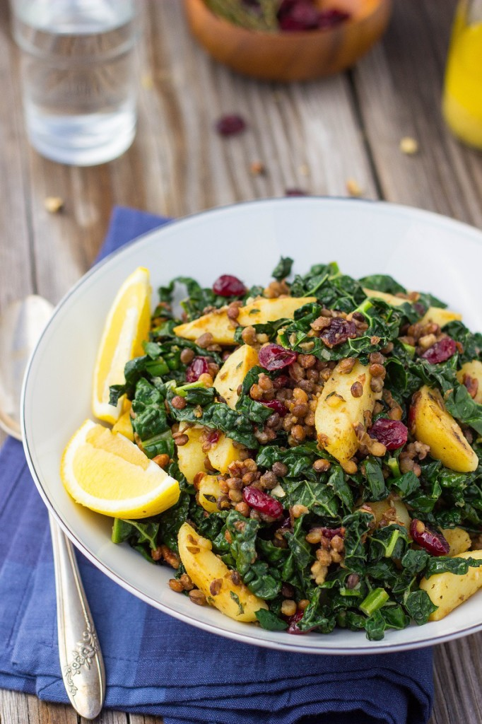 Warm Lentil, Kale & Potato Salad with Lemon Dijon Dressing