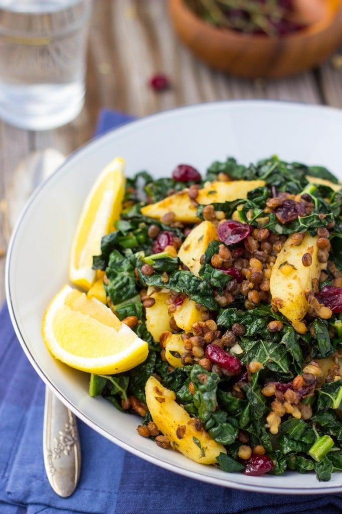 Warm Lentil, Kale and Potato Salad with Lemon Dijon Dressing-0795