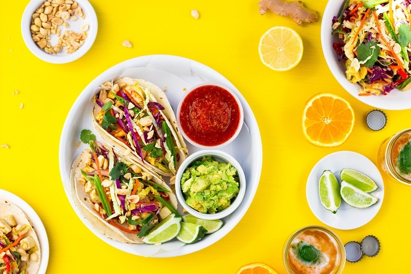 Citrus & Miso Marinated Tofu Tacos - She Likes Food