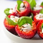 Goat Cheese & Spinach Stuffed Strawberries with Candied Walnuts & Balsamic Glaze