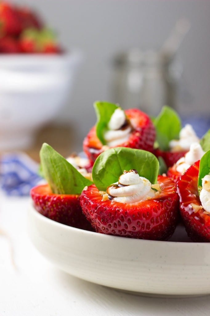 Goat Cheese & Spinach Stuffed Strawberries with Candied Walnuts & Balsamic Glaze-2979