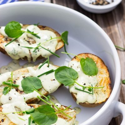 Grilled Potatoes with Vegan Ranch Dressing & Watercress