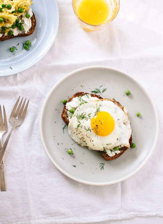 simple-goat-cheese-and-egg-toasts-with-peas-and-dill