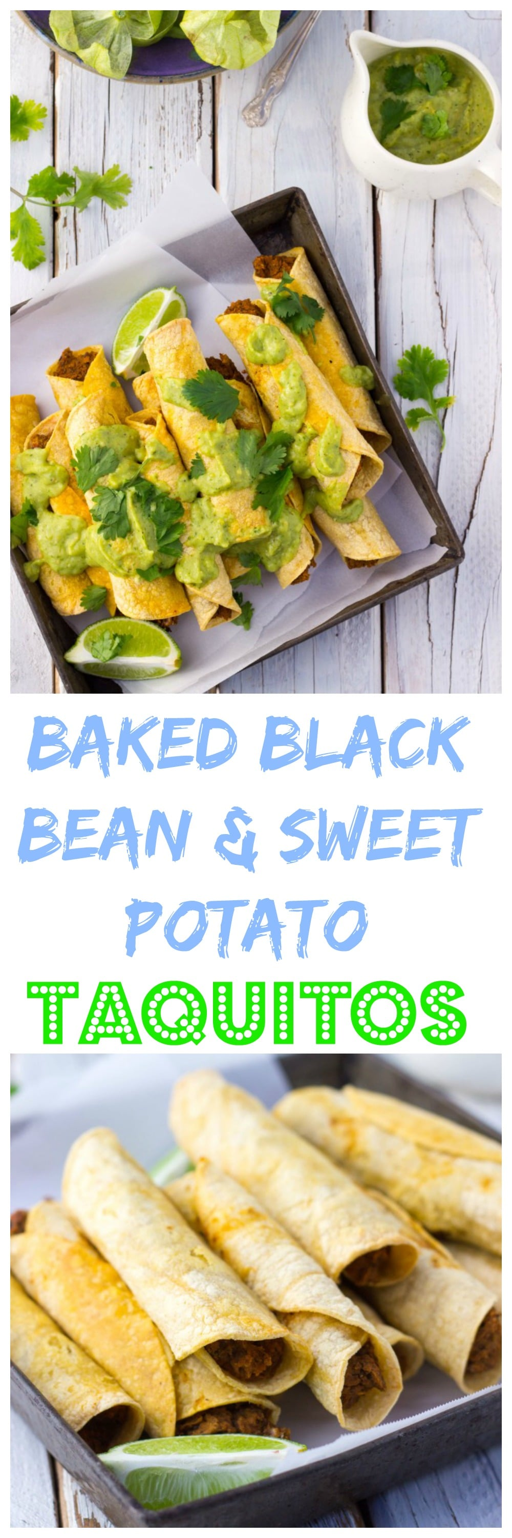 Baked Taquitos with Black Beans & Sweet Potato