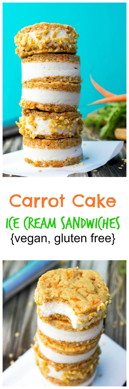 Carrot Cake Ice Cream Sandwiches {vegan & gluten free} - She Likes ...