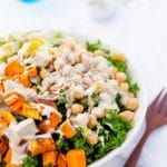 Kale Salad with Sweet Potato, Chickpeas & Avocado with a Tahini Miso Dressing