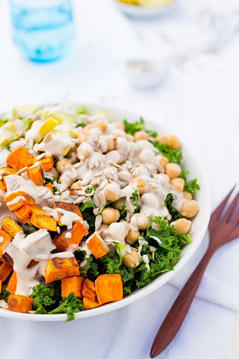 Kale Salad with Sweet Potato, Chickpeas & Avocado with Creamy Tahini ...