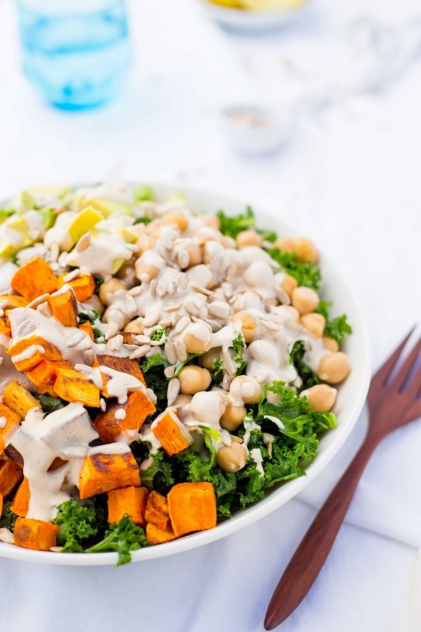 Kale Salad with Sweet Potato, Chickpeas & Avocado with a ...