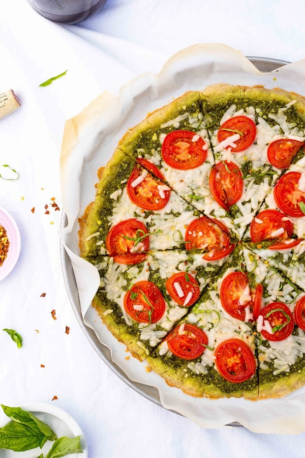 Pesto Pizza with Roma Tomatoes {gluten free, vegan}