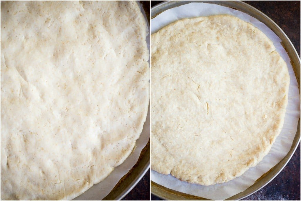This Gluten Free Pizza Crust is truly the best and easiest around!  It comes together quickly and tastes great with all your favorite toppings!  It's chewy and delicious and vegan too!