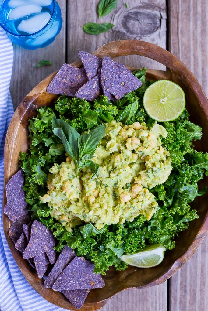 Chopped Kale Salad with Smashed Chickpeas & Avocado.  This salad requires no cooking and is the perfect alternative to the usual taco salad! {gluten free, vegan}