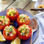 Quinoa and Chickpea Stuffed Tomatoes