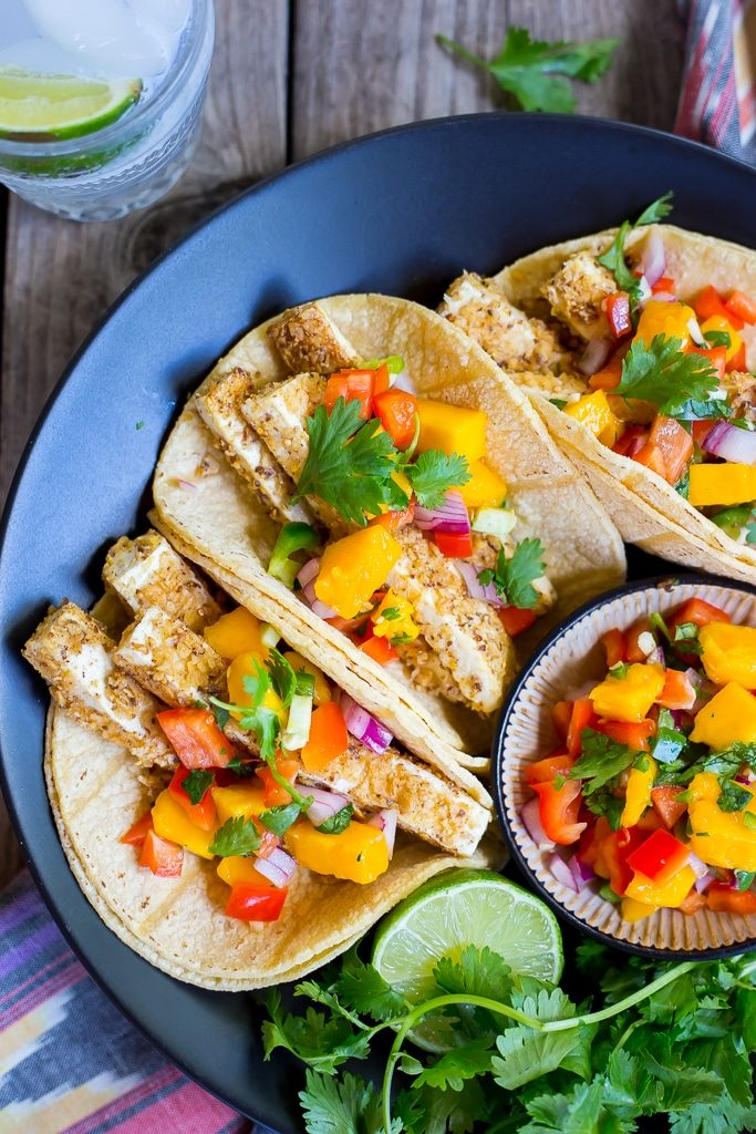 Tortilla Chip Crusted Tofu Tacos with Mango Salsa-1326