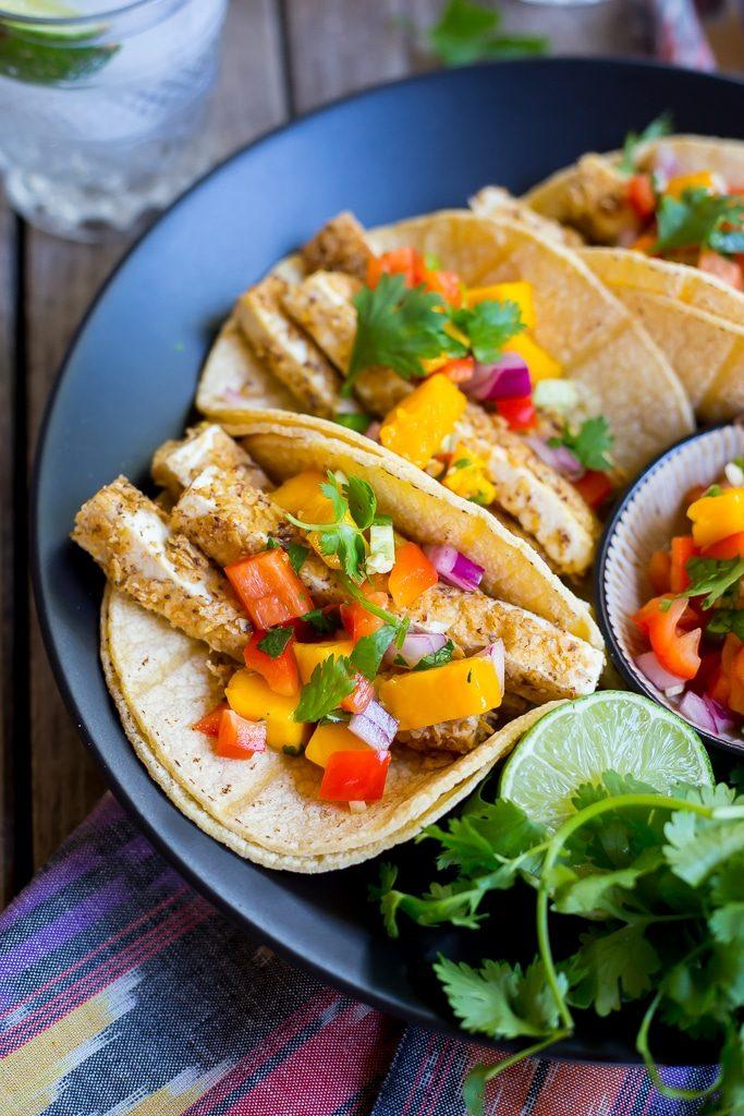 Tortilla Chip Crusted Tofu Tacos with Mango Salsa-1369