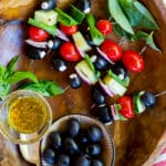 Goat Cheese Stuffed Black Olive Mediterranean Kabobs