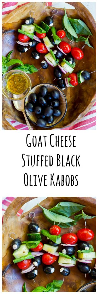 Goat Cheest Stuffed Black Olive Kabobs Collage