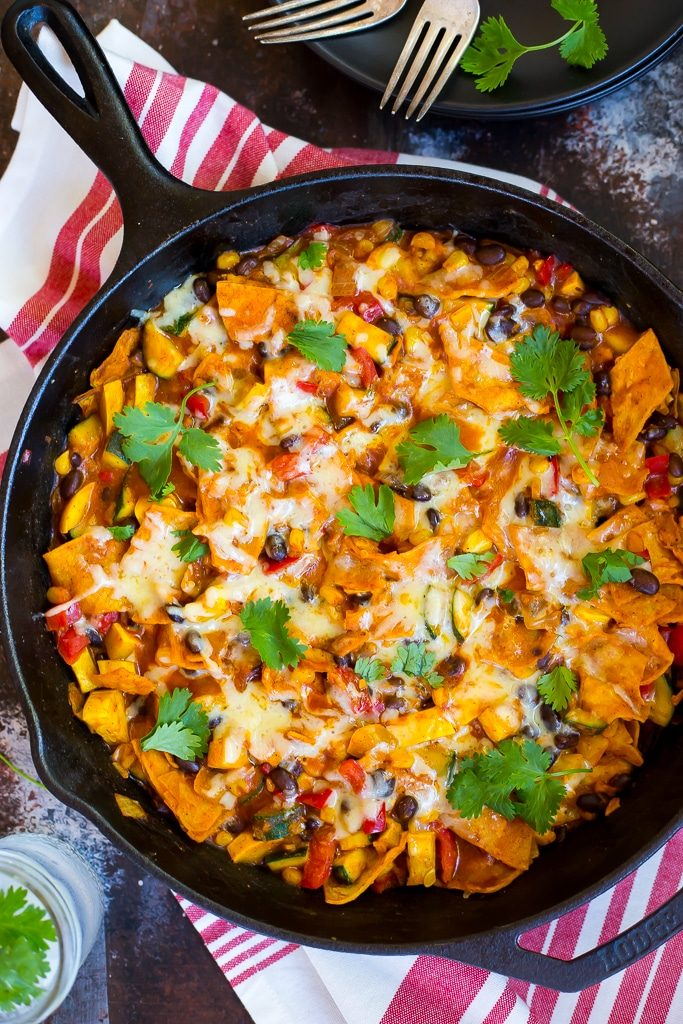 These One Pot Stove Top Enchiladas are easy to make and ready in 30 minutes!  No oven required!  A great way to use up that last basket of summer produce! {gluten free}