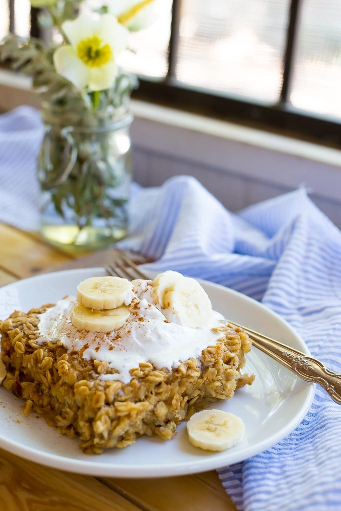 Peanut Butter and Banana Baked Oatmeal-