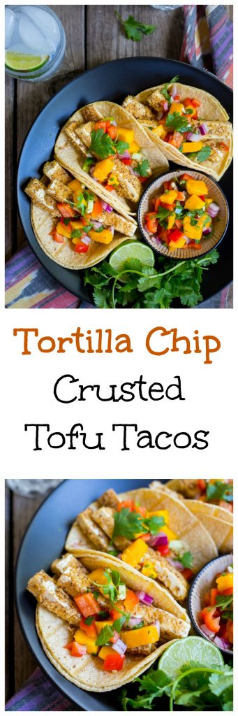 Tortilla Chip Crusted Tofu Taco Collage