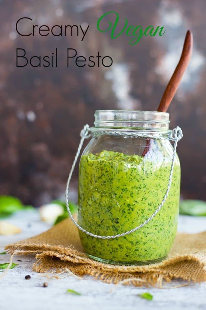 Creamy Vegan Basil Pesto - Pesto is the perfect way to use up the rest of your summer basil crop before it is too late!  This pesto goes perfectly with pasta, pizza, sandwiches and much more!