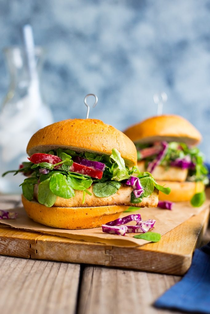 Crispy Tofu Sandwiches with Sweet Pea Green Peanut Slaw