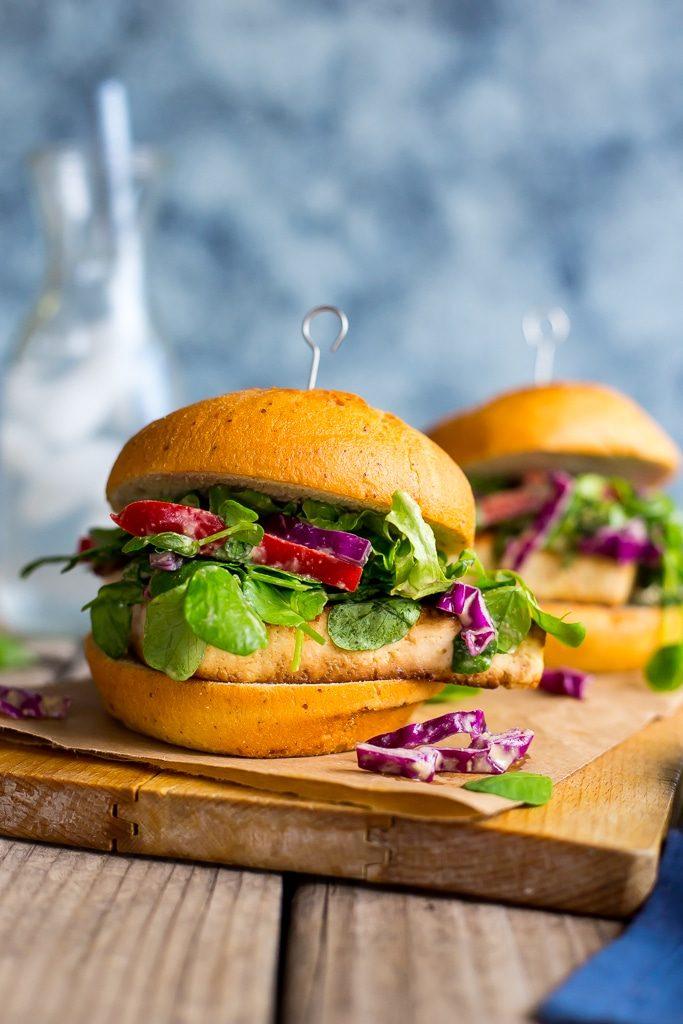 Crispy Tofu Sandwiches with Sweet Pea Greens Peanut Slaw-5426