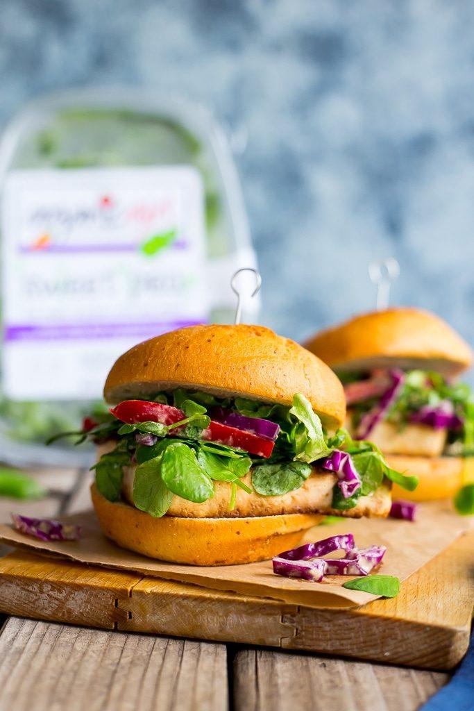 Crispy Tofu Sandwiches with Sweet Pea Greens Peanut Slaw-5441
