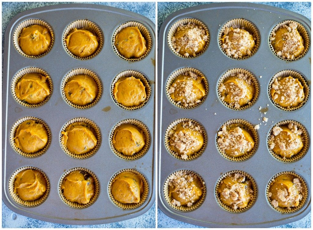 Gluten Free Pumpkin Muffins with Chocolate Chips & Streusal Topping - Steps