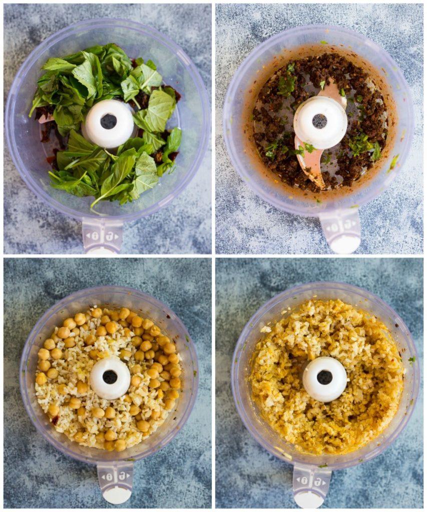 Sun-Dried Tomato and Basil Veggie Burgers Step 1